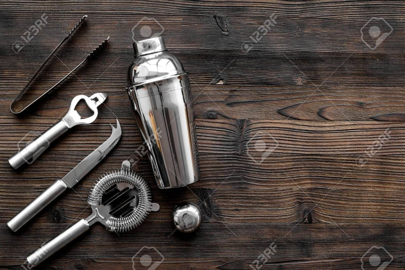 Instruments bartender. Shaker, strainer on wooden background top view copyspace Stock Photo , #AFF, #strainer, #wooden, #Shaker, #Instruments, #bartender