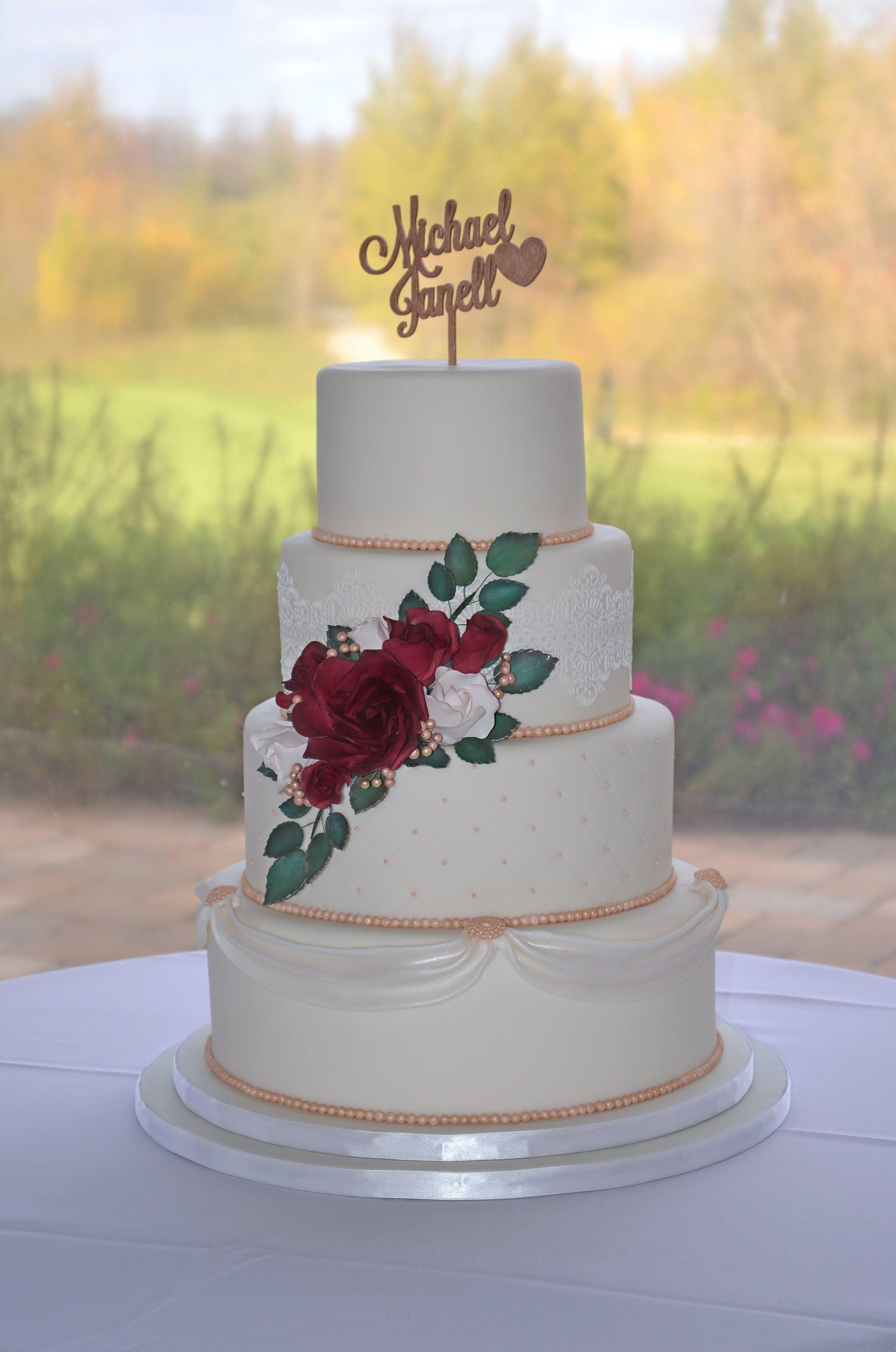 elegant rose gold wedding cake with burgundy roses. Black Bedroom Furniture Sets. Home Design Ideas