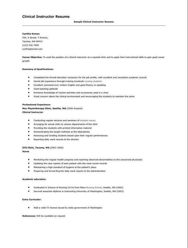 Resume Resume Samples For Nursing Instructor Snowboard Instructor Cover  Letter Nurse Resume Nursing Examples Clinical Resume