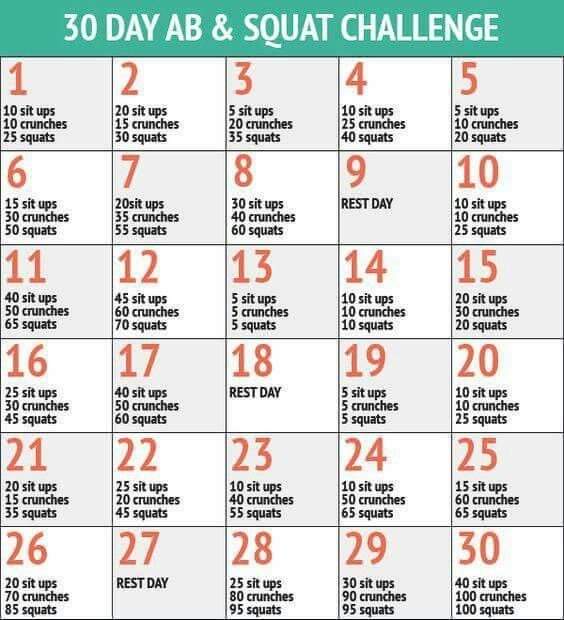 30 Day Workout Challenge, 30 Day