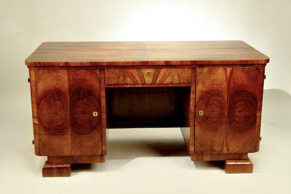 Art Deco Writing Desk Walnut Veneer, Art Deco Corner Writing Desk