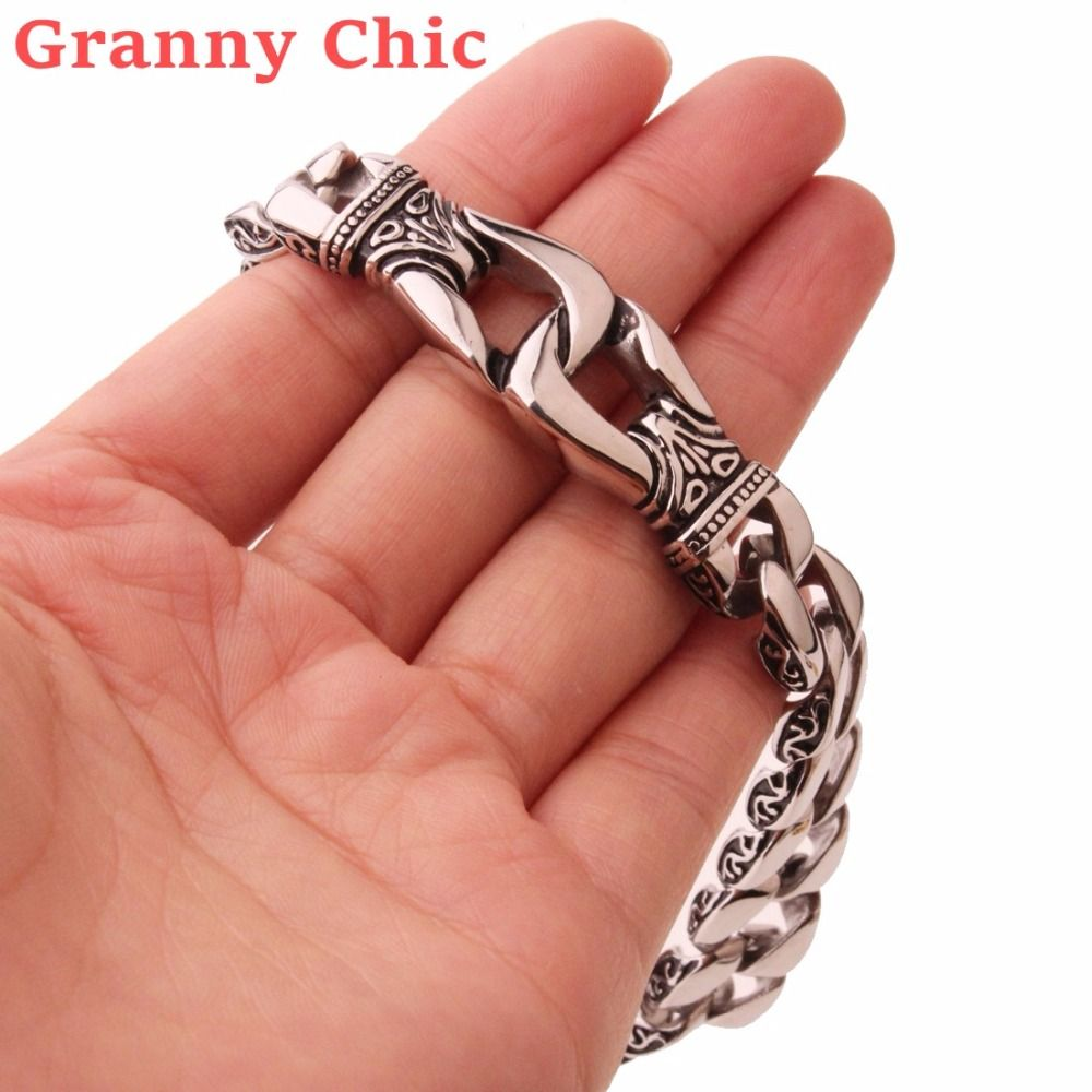 Granny chic cm mm heavy stainless steel silver color curb