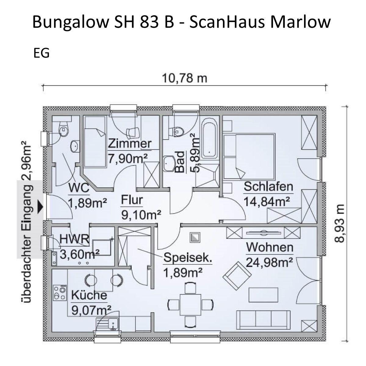 Moderner Bungalow Haus Grundriss Erdgeschoss rechteckig