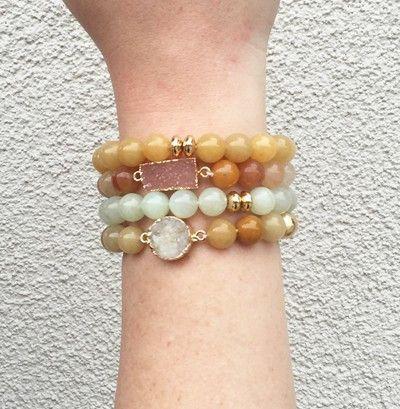 @knittedbelle #knittedbelle  Sea Glass Druzy Bracelet Set - Amber