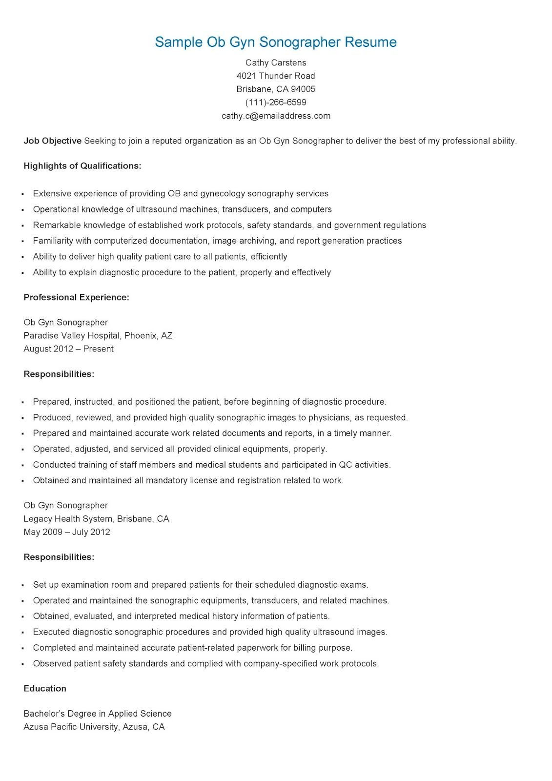 Sample ob gyn sonographer resume technician resume for Cover letter for ob gyn position