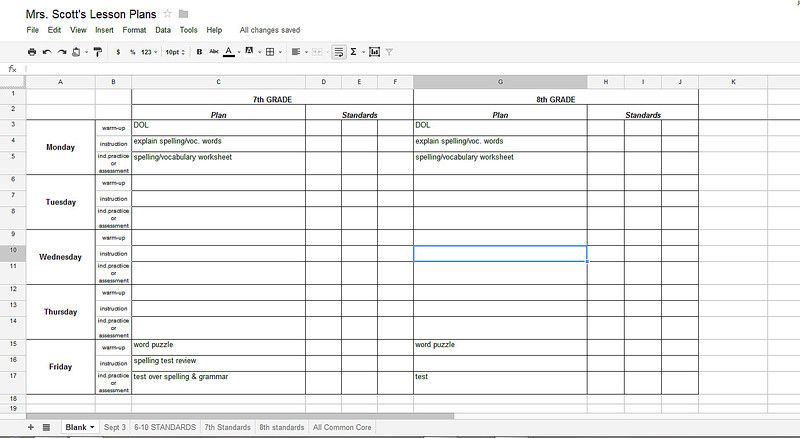 Using Google Docs for Lesson Plans and labeling the Common Core - spreadsheet google docs