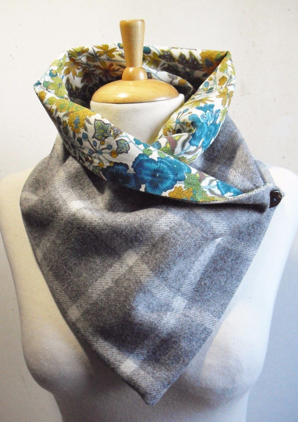 Check Tweed fabric (100% Wool ) snood/scarf/Neck warmer with Liberty ...