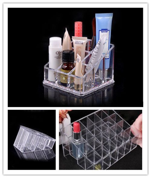 HO AU Clear Acrylic Lipstick Holder Display Stand Cosmetic Organizer Makeup Case