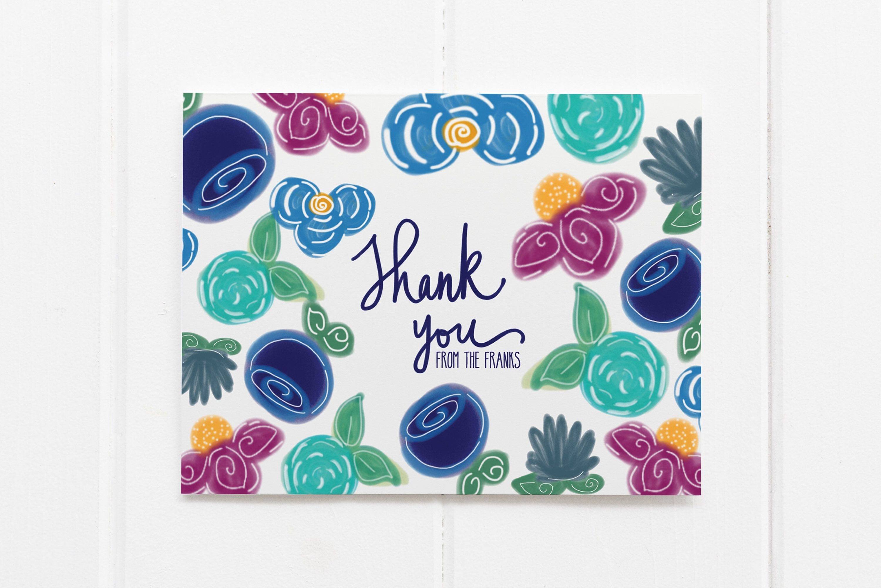 Personalized Thank You Notes Family Stationary Flowers