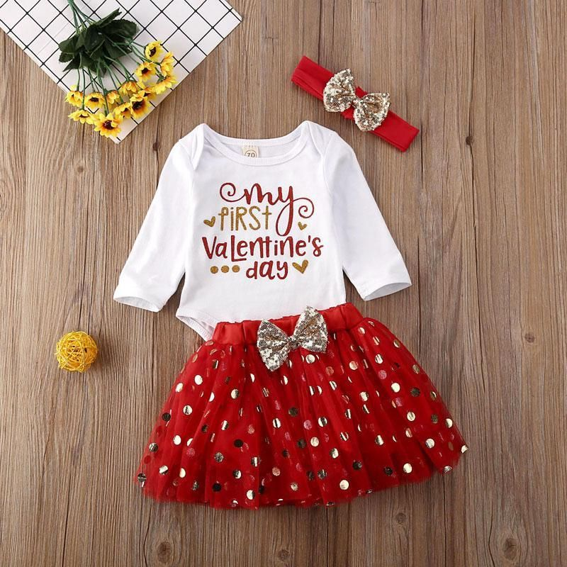 """Sock Pants Outfits US For 0-18M /""""My First Valentine/'s Day/"""" Newborn Baby Romper"""