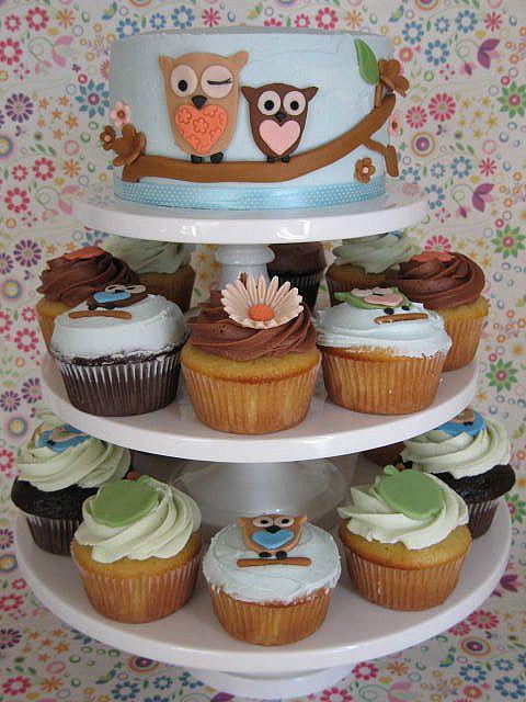 Owl Cake And Cupcakes Cupcake Cakes Owl Cake Birthday Owl Cake