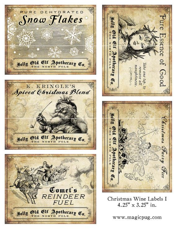 Antique Christmas Potion Wine Labels 4.25 x 3.25 digital collage sheet decorations for your holiday dinner parties printable cheer reindeer