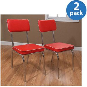 Retro Dining Chairs, Set Of 2, Red