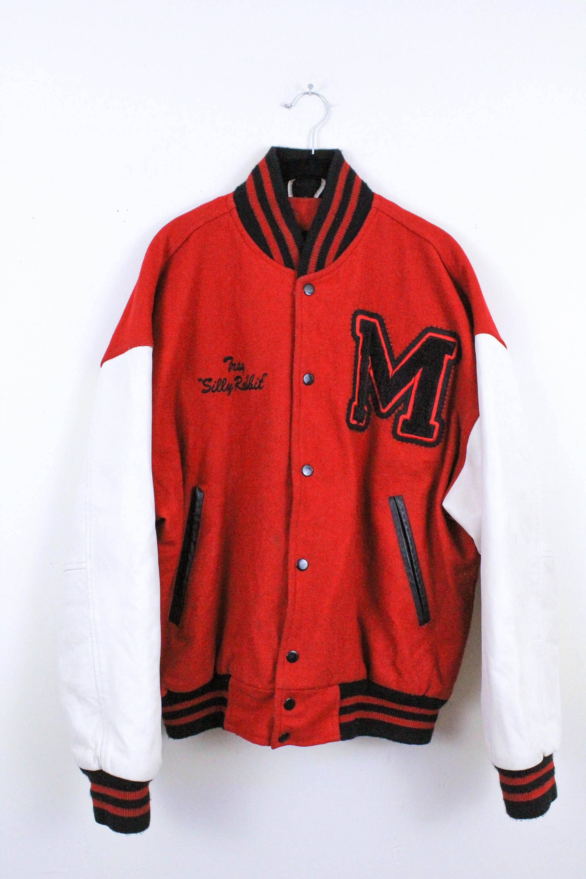 bb132565e 90s Red White and Black Letterman Jacket / Leather / Wool / Silly Rabbit /  Snap Front / Varsity / Medium / Mens / Vintage / M / Teen Wolf / by ...