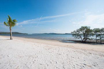 Tropical beach scenic view on sea