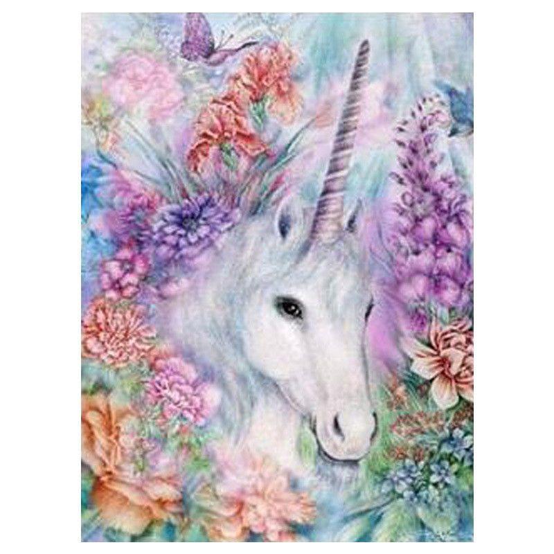 Lovely Horse Flower 5D Diamond Painting Cross Stitch Kit For Kids Handwork