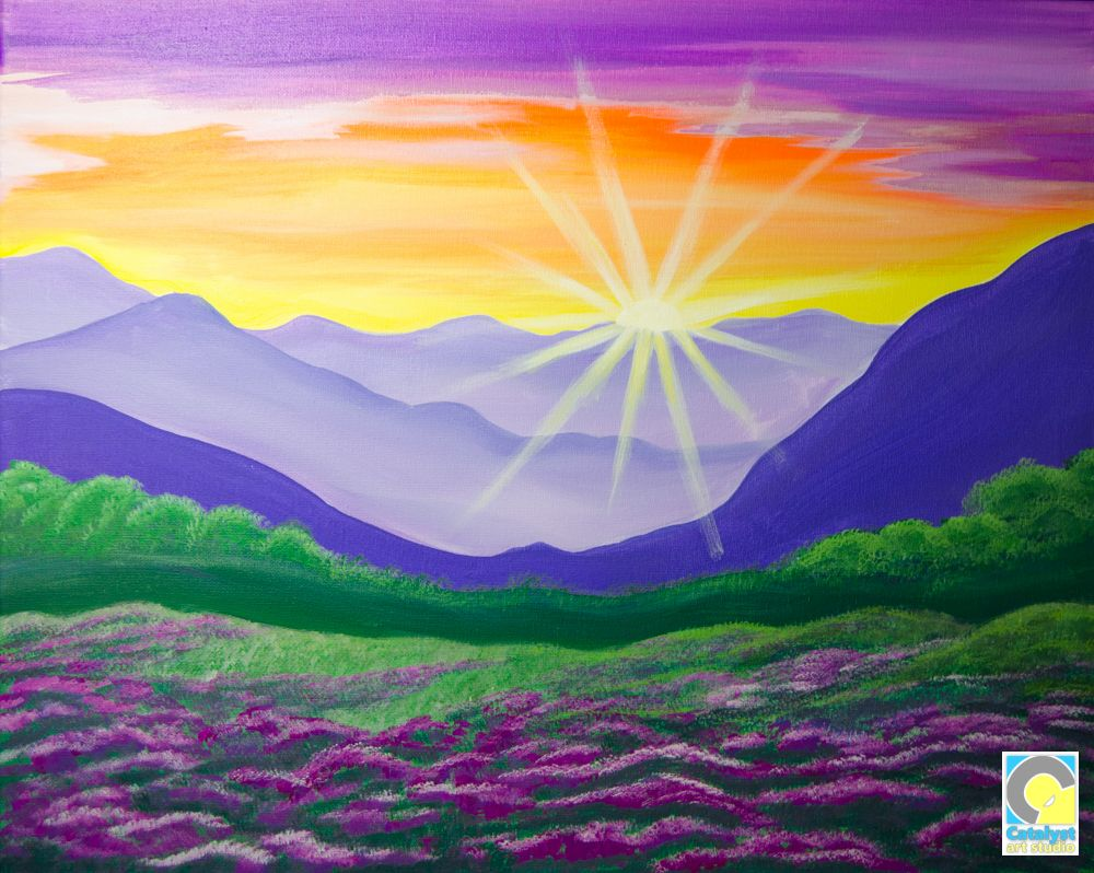 Sunset Mountain Landscape Paint And Sip Party Mountain Landscape Painting Summer Painting Painting