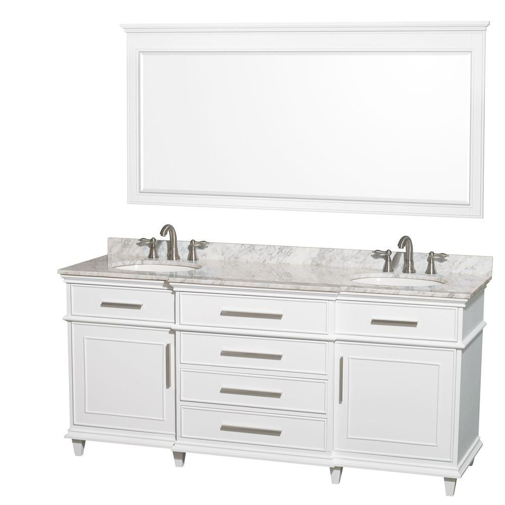 Wyndham Collection Berkeley 72 In Double Vanity In White With
