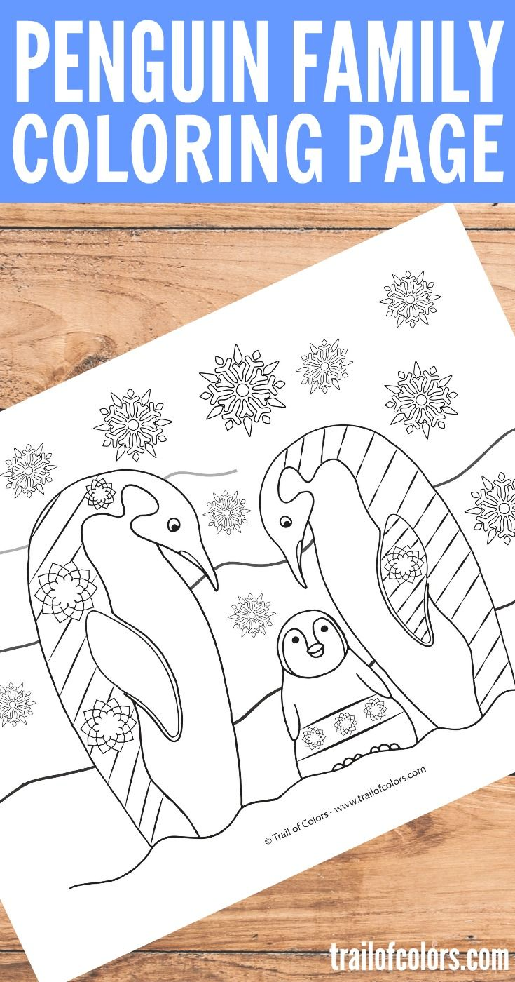 Penguin Family Coloring Page for Adults