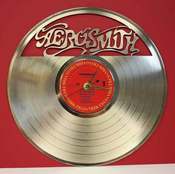 Aerosmith Laser Etched Gold Vinyl Lp Record Battery Operated Wall Clock Free Shipping Usa Great Gift For Him Aerosmith Record Display Lp Record Display