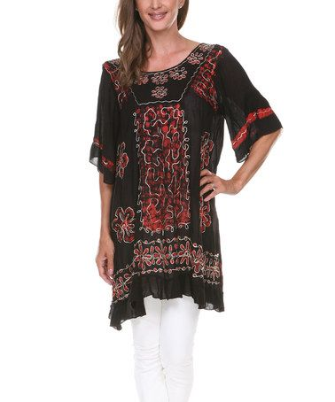 34f78f6b22b9 Another great find on  zulily! Black   Red Floral Embroidered Scoop Neck  Tunic  zulilyfinds