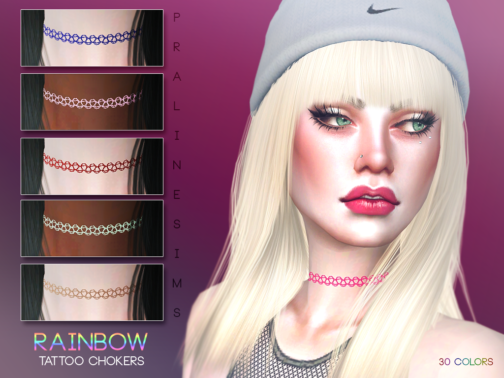 The sims 4 hair accessories - Tattoo Chokers In 30 Colors Found In Tsr Category Sims 4 Female Necklaces