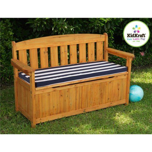 Beau For Kids Only, Inc. Outdoor Storage Bench With Navy Stripe Cushion $194.99  (save