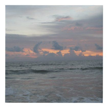 Beach Sunrise Ocean Sky Clouds Nature Faux Canvas Print