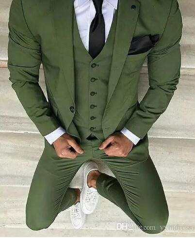Green Wedding Tuxedos Slim Fit Men s Business Suit Jacket Pants Vest Men s Suits Two Buttons Wedding Suits Groomsmen Tuxedos Party Prom #men'ssuits