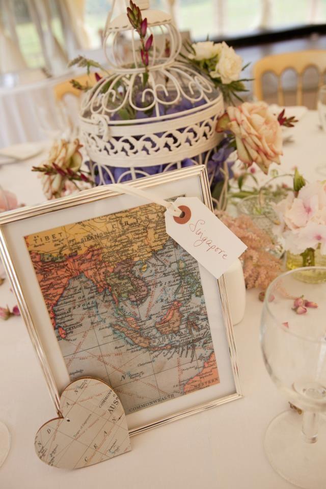 Segnaposto Di Matrimonio A Tema Viaggio Con Quadretto E Mappa Matrimoni A Tema Viaggio Matrimoni A Tema Centrotavola Nuziale