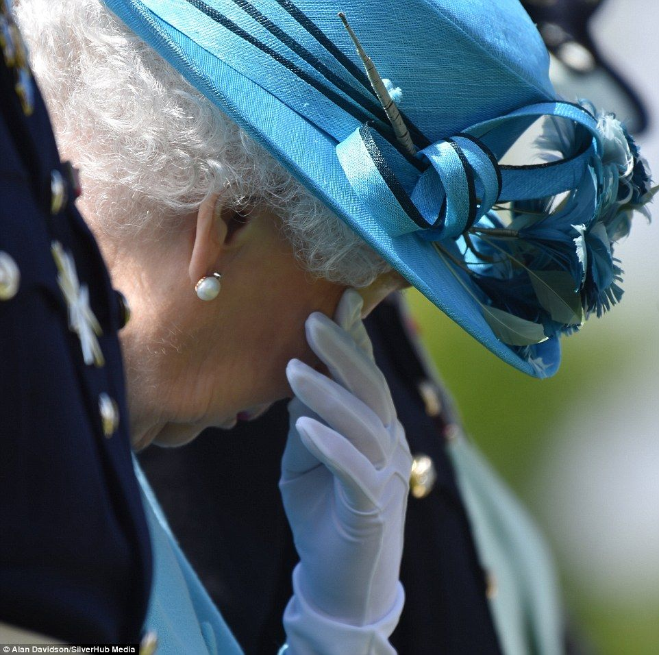 Normally utterly composed, the monarch was seen wiping her eyes in an unguarded moment - a...