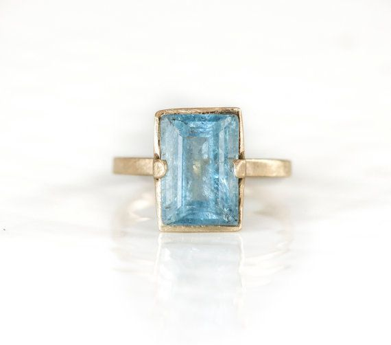 Aquamarine Ring In 14k Yellow Gold, $528