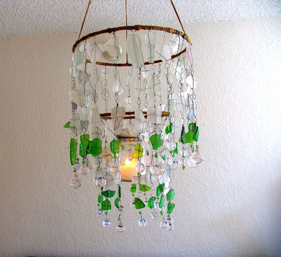 Diy Sea Glass Chandelier By Ecospired Com Sea Glass Chandelier Chandelier Glass
