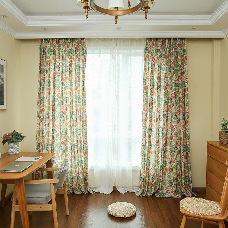 American Retro Curtain Abstract Flower Printing Curtain Bedroom