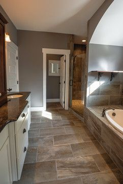 luxe homes and design | brown tile bathroom, slate