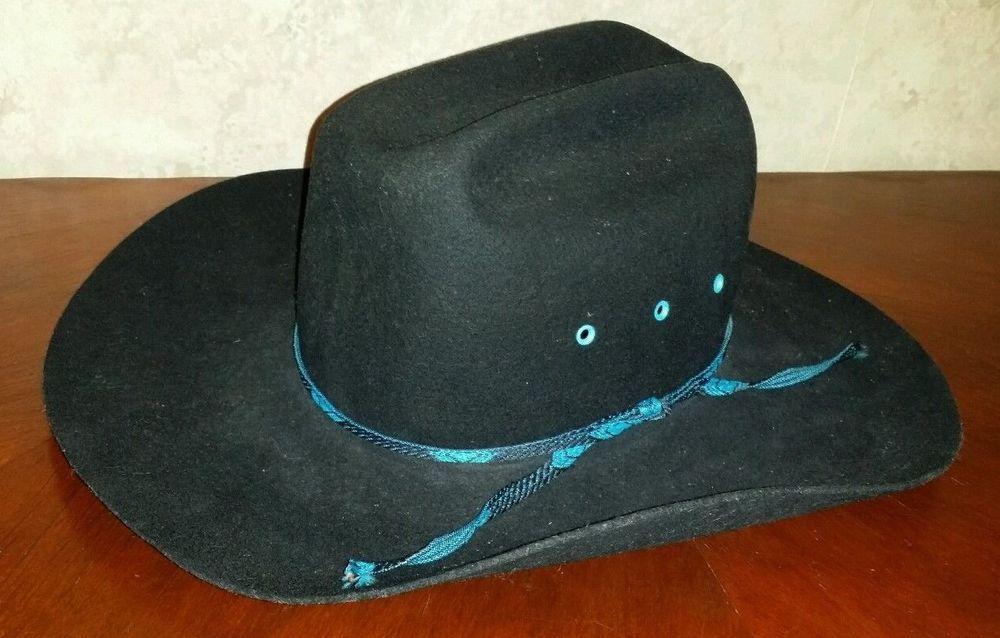Eddy Bros Hat XX Fur Blend Hat Black Blue Band Cowboy Western Used  2859490b17b8