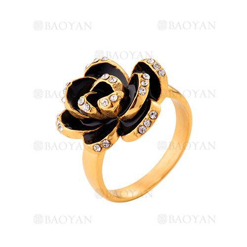 anillo de flor de dorado en acero inoxidable-SSRGG271915