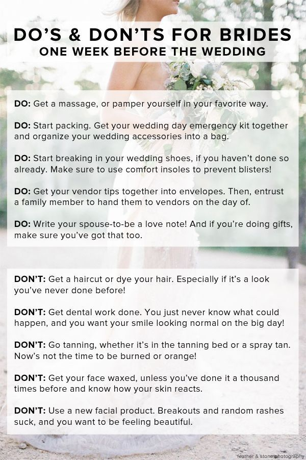 Do's and don'ts one week before the wedding