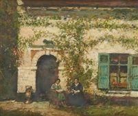Conversation devant la maison by Alfred Théodore Joseph Bastien