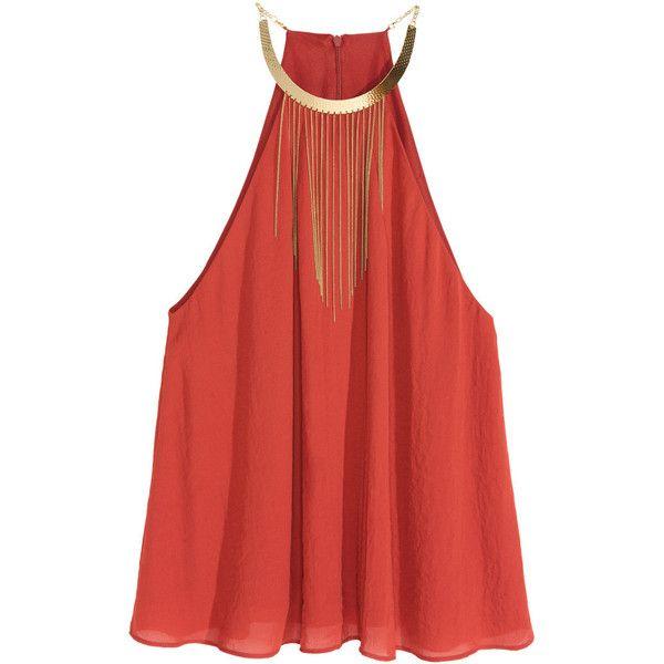 Halterneck Necklace-trim Top $39.99 ($40) via Polyvore featuring tops, red halter neck top, embellished halter top, halter top, embellished tops and woven top