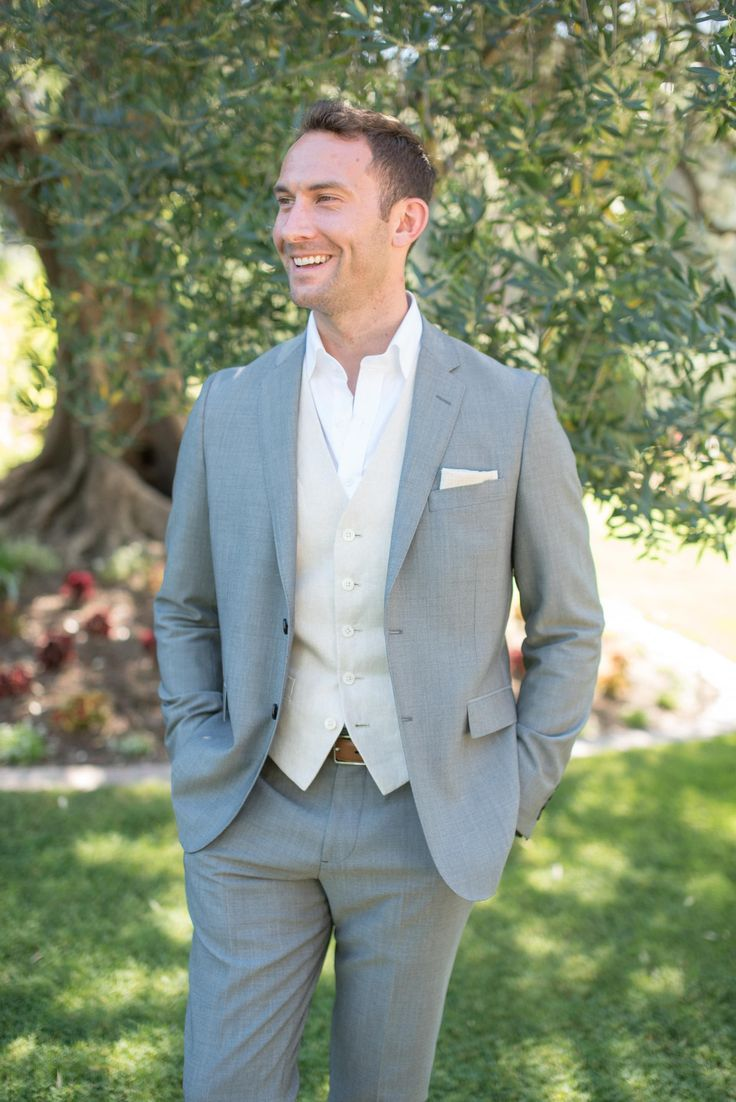 Laid Back Groom Attire Grey Suit No Tie Cream Vest White