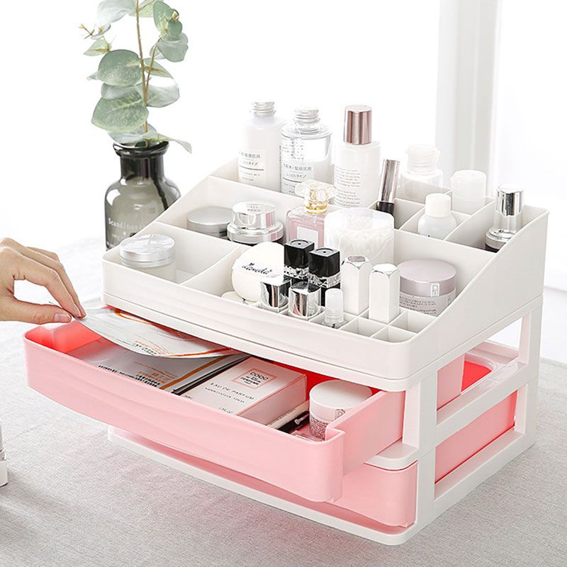 Small Makeup Organizer DIY Holder Storage Rack Home Capacity Make up Caddy Shelf Cosmetics Organizer Box Best for Countertop (Top Grid Organizer is Optional to Purchase) -   18 diy Box makeup ideas
