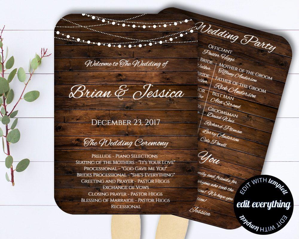 Country Wedding Program Fan Template - Rustic Wedding Program ...