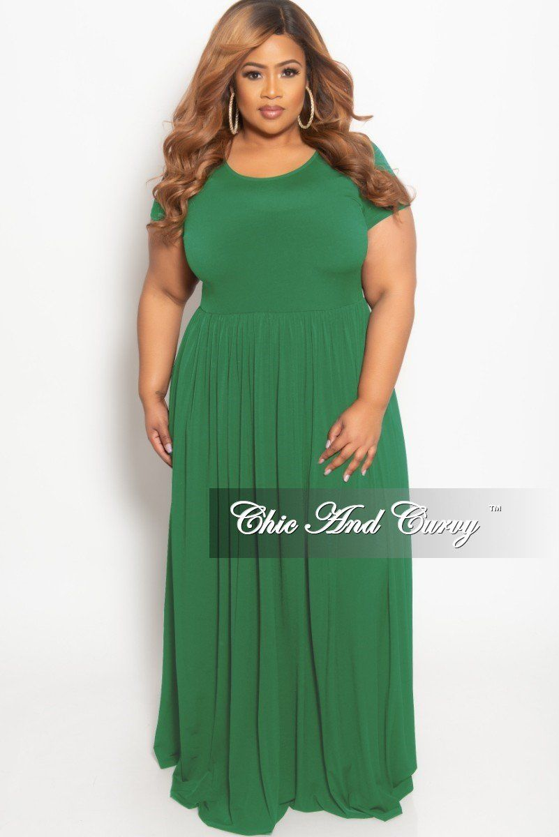 New Plus Size Flowy Maxi Dress in Green | Chic And Curvy ...
