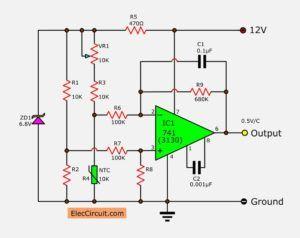 simple temperature to voltage converter circuit eleccircuit elec rh pinterest com au