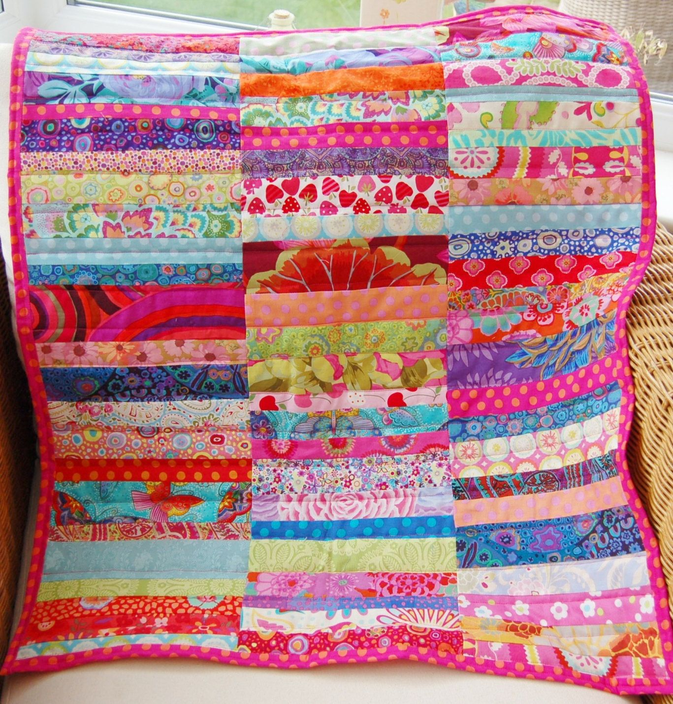 Handmade multi coloured patchwork pram quilt, baby blanket for ... : colourful patchwork quilt - Adamdwight.com
