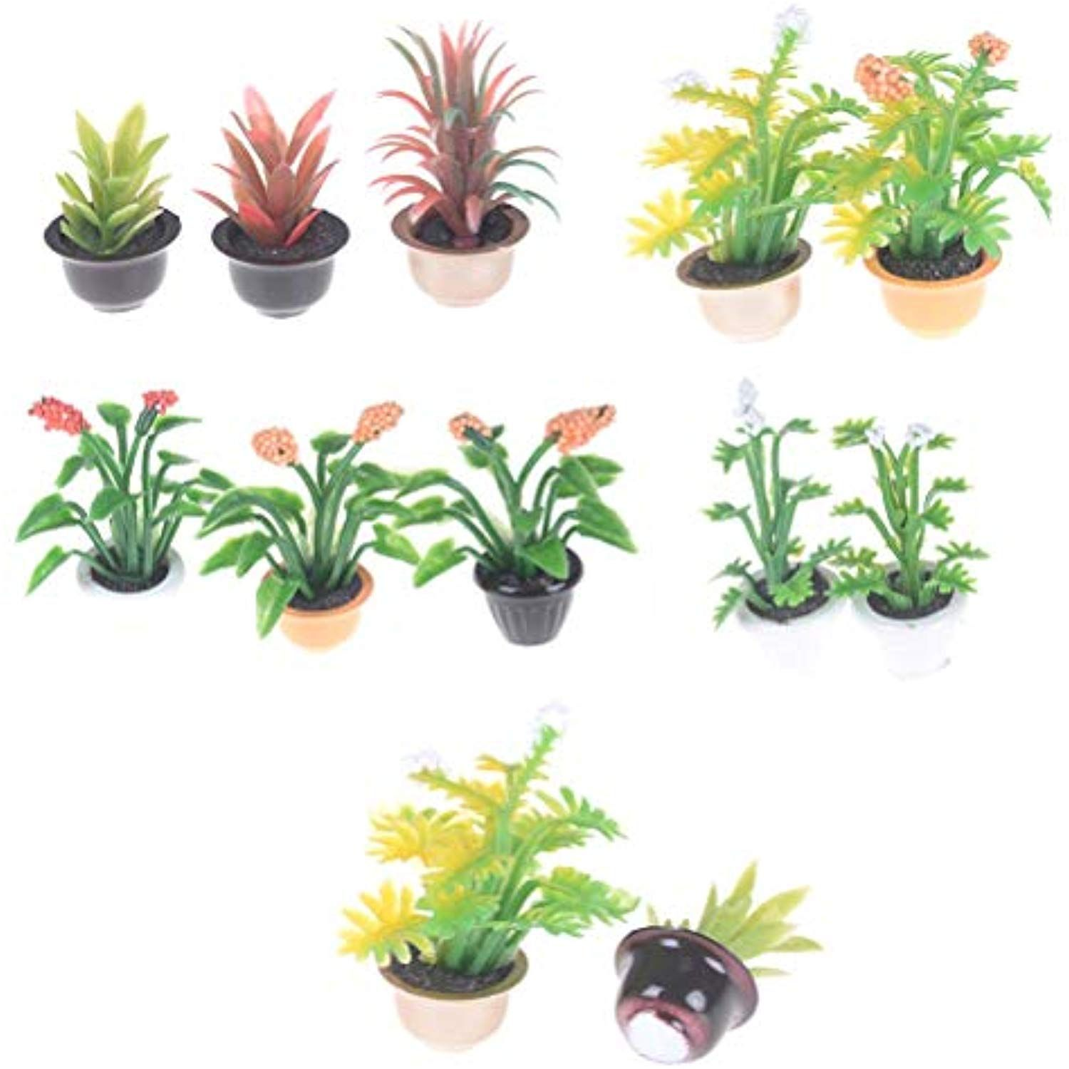 Dollhouse Miniatures Green Plant in Pot Potted Tree Mini Plants//Doll House DECO