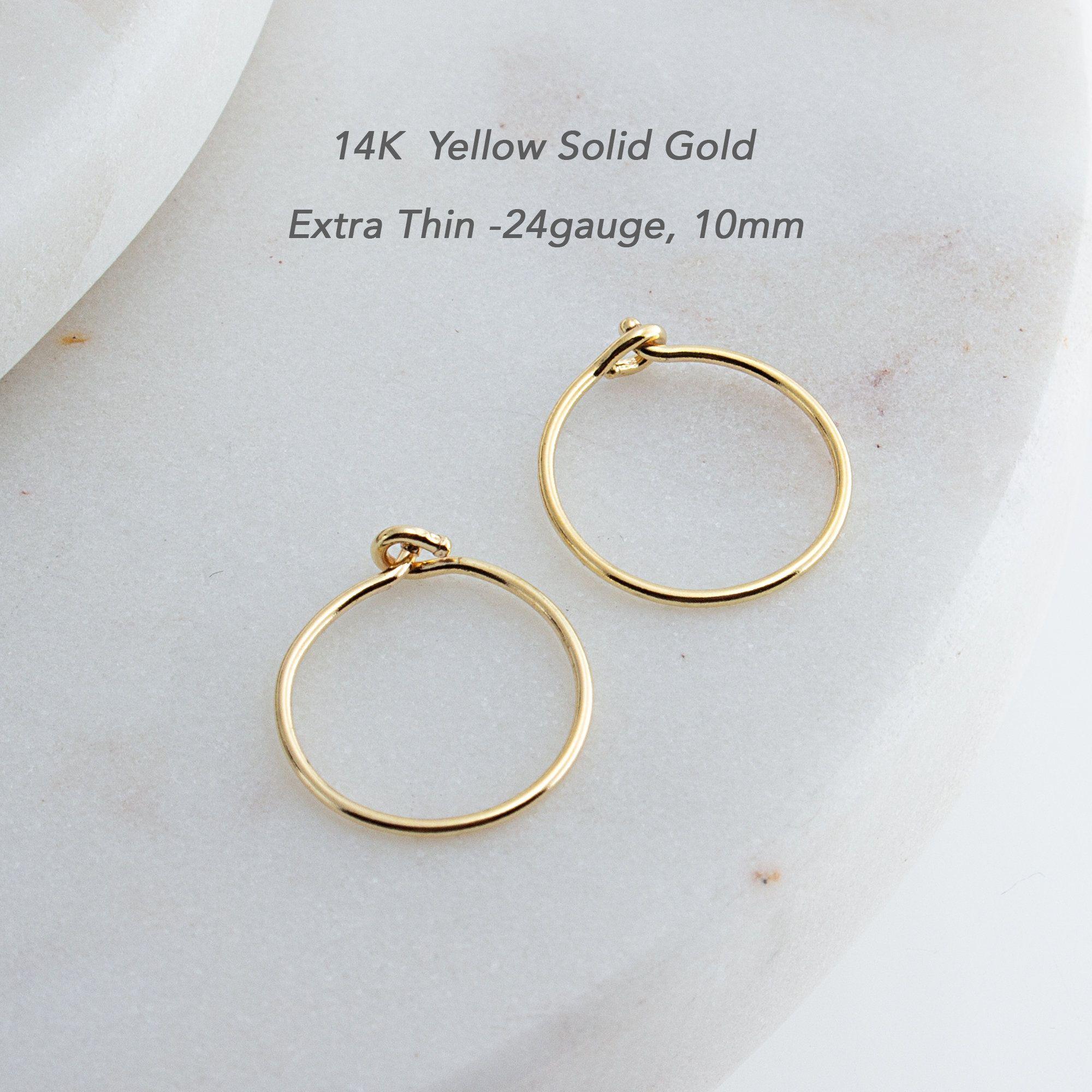 Solid 14k Gold Hoop Piercing 10mm Hugger Nostril Handmade Sold In