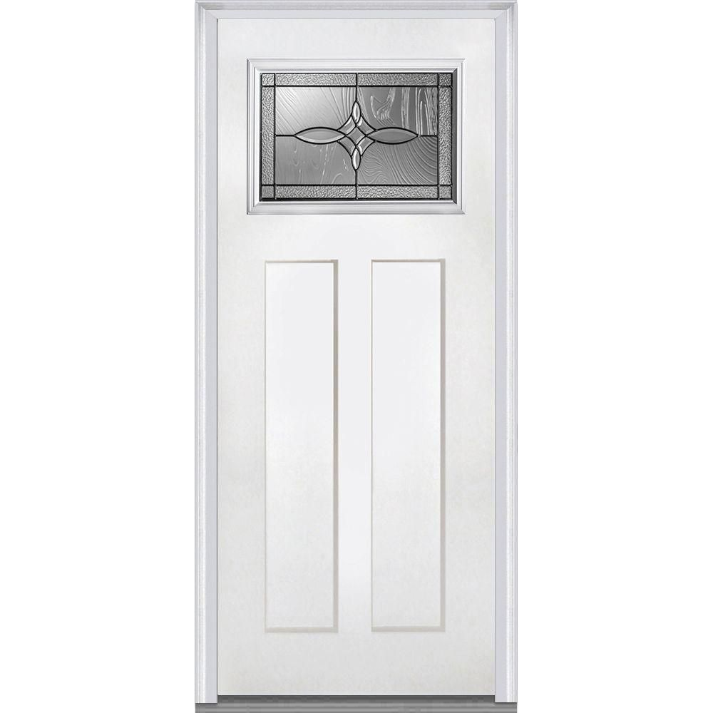 Mmi Door 36 In X 80 In Lenora Right Hand Craftsman 1 Lite Decorative 2 Panel Primed Fiberglass Smooth Prehung Front Door Wood Exterior Door Aluminum Screen Doors Prehung Doors