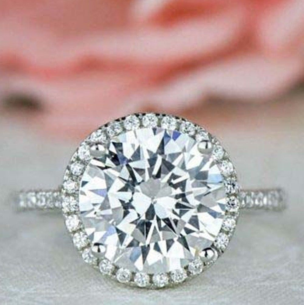 Moissanite engagement ring sterling silver ct white round